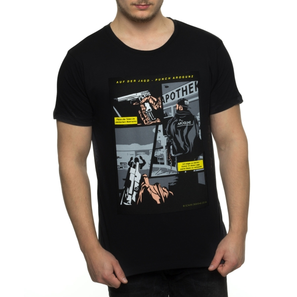 Auf Der Jagd Scalfie Comic T-Shirt - Black